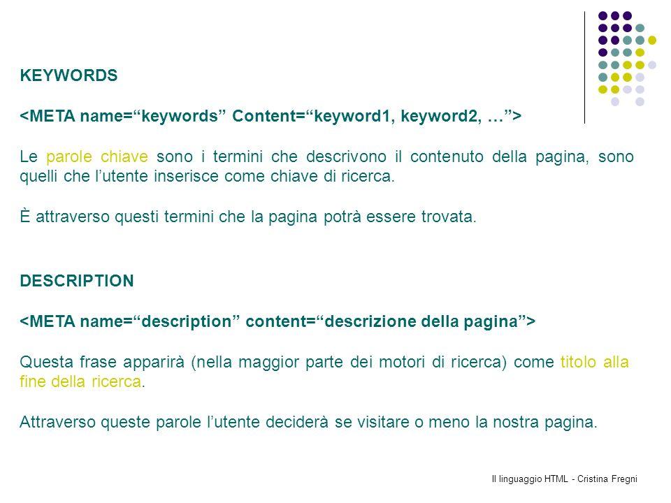 Il linguaggio HTML - Cristina Fregni KEYWORDS Le parole chiave sono i termini che descrivono il contenuto della pagina, sono quelli che lutente inseri