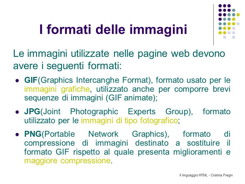 Il linguaggio HTML - Cristina Fregni I formati delle immagini GIF(Graphics Intercanghe Format), formato usato per le immagini grafiche, utilizzato anc