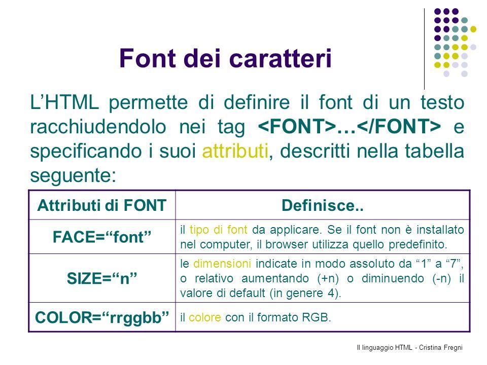 Il linguaggio HTML - Cristina Fregni Font dei caratteri LHTML permette di definire il font di un testo racchiudendolo nei tag … e specificando i suoi