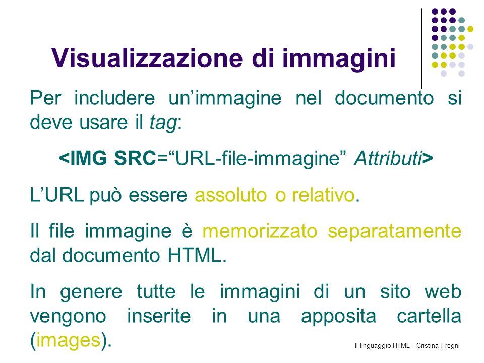 Il linguaggio HTML - Cristina Fregni Visualizzazione di immagini Per includere unimmagine nel documento si deve usare il tag: LURL può essere assoluto