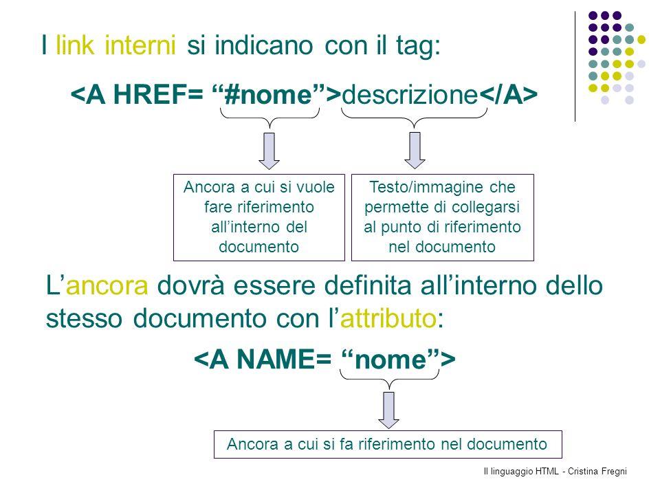 Il linguaggio HTML - Cristina Fregni Lancora dovrà essere definita allinterno dello stesso documento con lattributo: Ancora a cui si vuole fare riferi