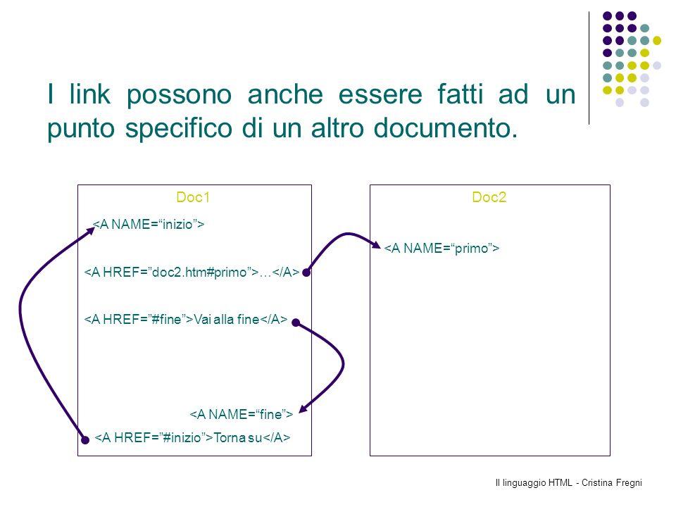 Il linguaggio HTML - Cristina Fregni Doc1 … Vai alla fine Torna su Doc2 I link possono anche essere fatti ad un punto specifico di un altro documento.