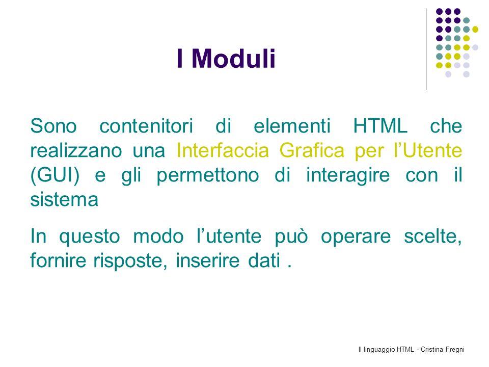 Il linguaggio HTML - Cristina Fregni I Moduli Sono contenitori di elementi HTML che realizzano una Interfaccia Grafica per lUtente (GUI) e gli permett