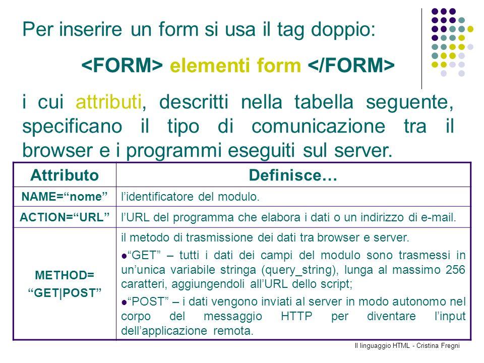 Il linguaggio HTML - Cristina Fregni Per inserire un form si usa il tag doppio: elementi form i cui attributi, descritti nella tabella seguente, speci