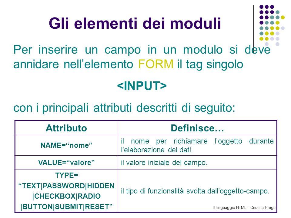 Il linguaggio HTML - Cristina Fregni Gli elementi dei moduli Per inserire un campo in un modulo si deve annidare nellelemento FORM il tag singolo con