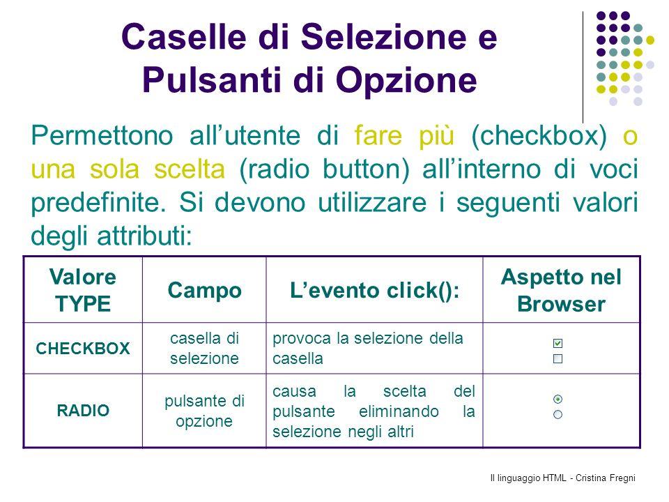 Il linguaggio HTML - Cristina Fregni Caselle di Selezione e Pulsanti di Opzione Valore TYPE CampoLevento click(): Aspetto nel Browser CHECKBOX casella