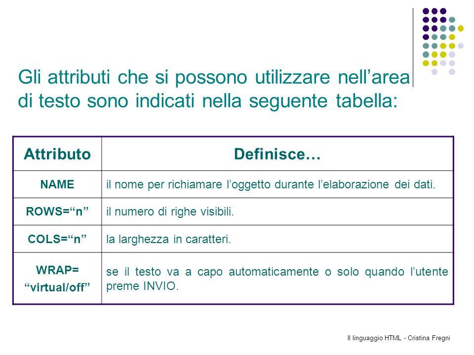Il linguaggio HTML - Cristina Fregni AttributoDefinisce… NAMEil nome per richiamare loggetto durante lelaborazione dei dati. ROWS=nil numero di righe