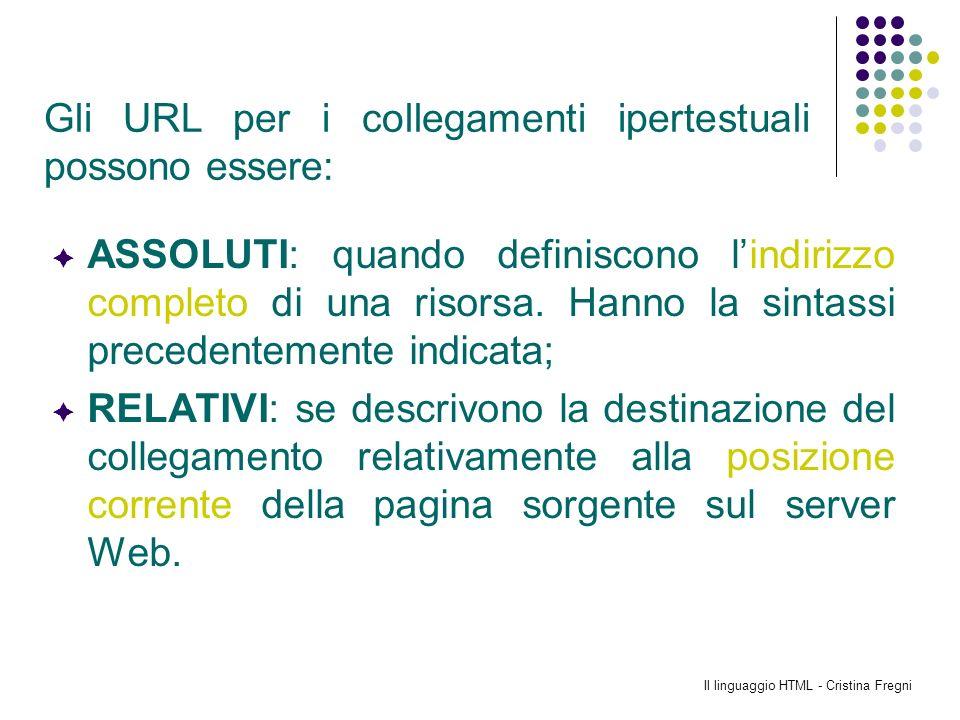 Il linguaggio HTML - Cristina Fregni ASSOLUTI: quando definiscono lindirizzo completo di una risorsa. Hanno la sintassi precedentemente indicata; RELA