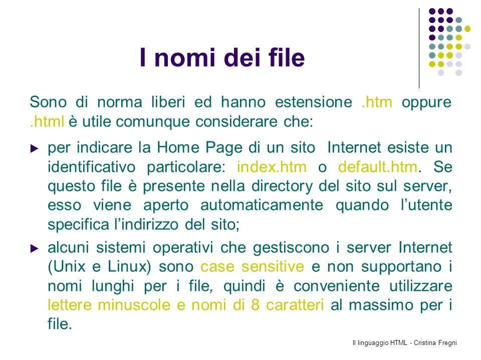 Il linguaggio HTML - Cristina Fregni I nomi dei file per indicare la Home Page di un sito Internet esiste un identificativo particolare: index.htm o d
