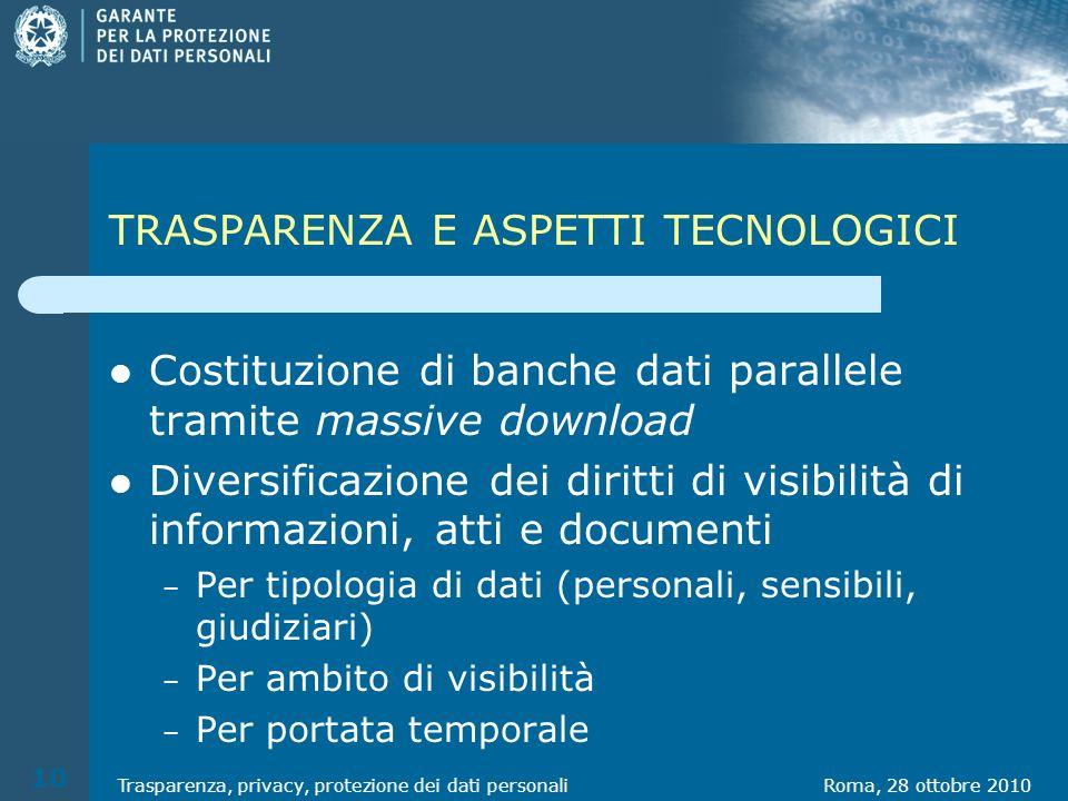 TRASPARENZA E ASPETTI TECNOLOGICI Costituzione di banche dati parallele tramite massive download Diversificazione dei diritti di visibilità di informa