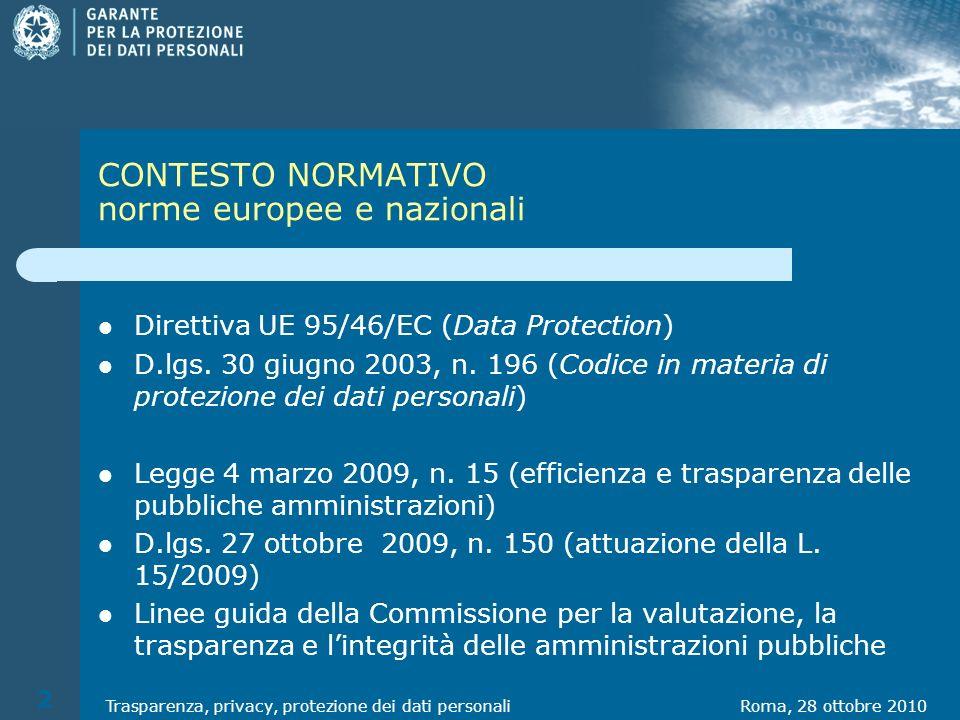 Roma, 28 ottobre 2010Trasparenza, privacy, protezione dei dati personali 2 CONTESTO NORMATIVO norme europee e nazionali Direttiva UE 95/46/EC (Data Protection) D.lgs.