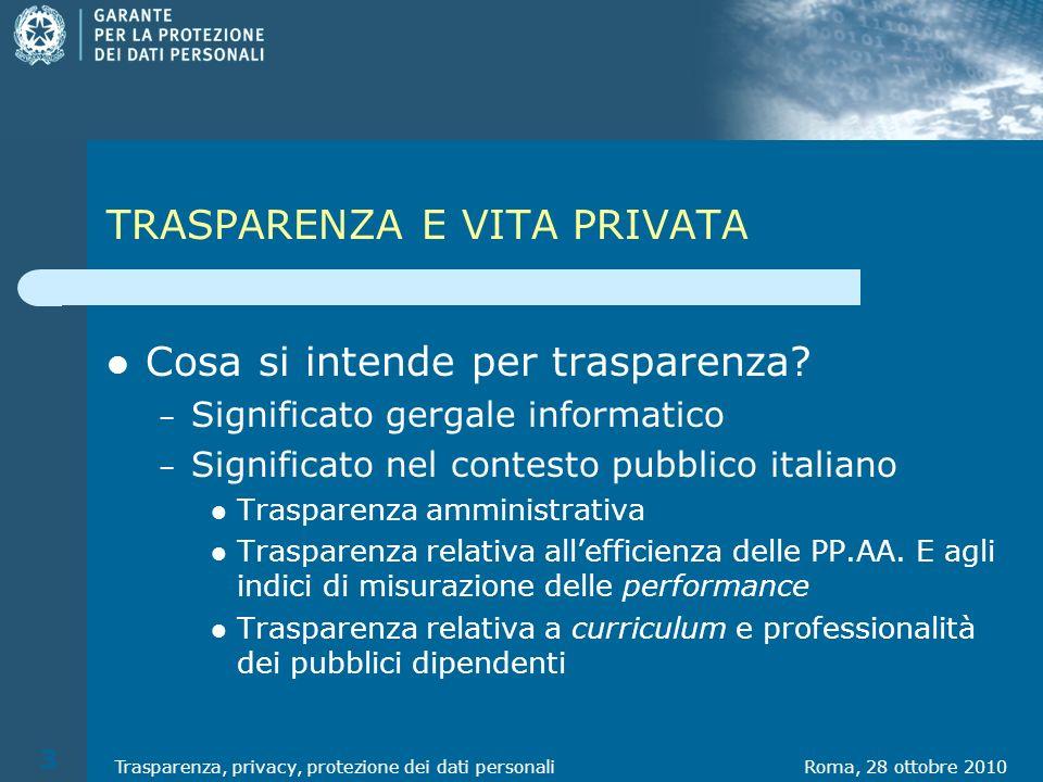 TRASPARENZA E VITA PRIVATA Cosa si intende per trasparenza.