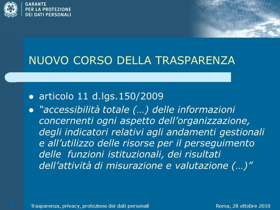 NUOVO CORSO DELLA TRASPARENZA articolo 11 d.lgs.150/2009 accessibilità totale (…) delle informazioni concernenti ogni aspetto dellorganizzazione, degl