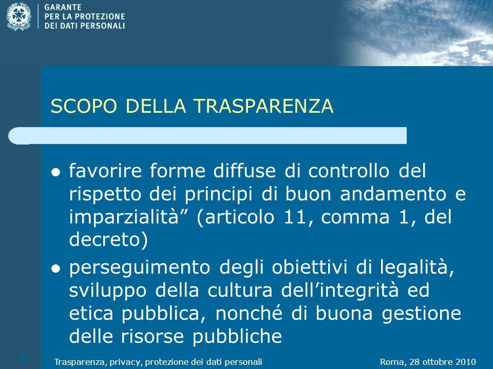 SCOPO DELLA TRASPARENZA favorire forme diffuse di controllo del rispetto dei principi di buon andamento e imparzialità (articolo 11, comma 1, del decr