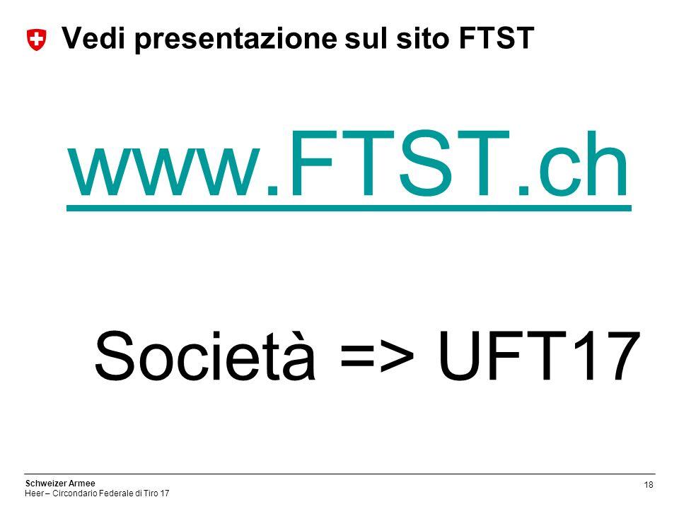 18 Schweizer Armee Heer – Circondario Federale di Tiro 17 Vedi presentazione sul sito FTST www.FTST.ch Società => UFT17