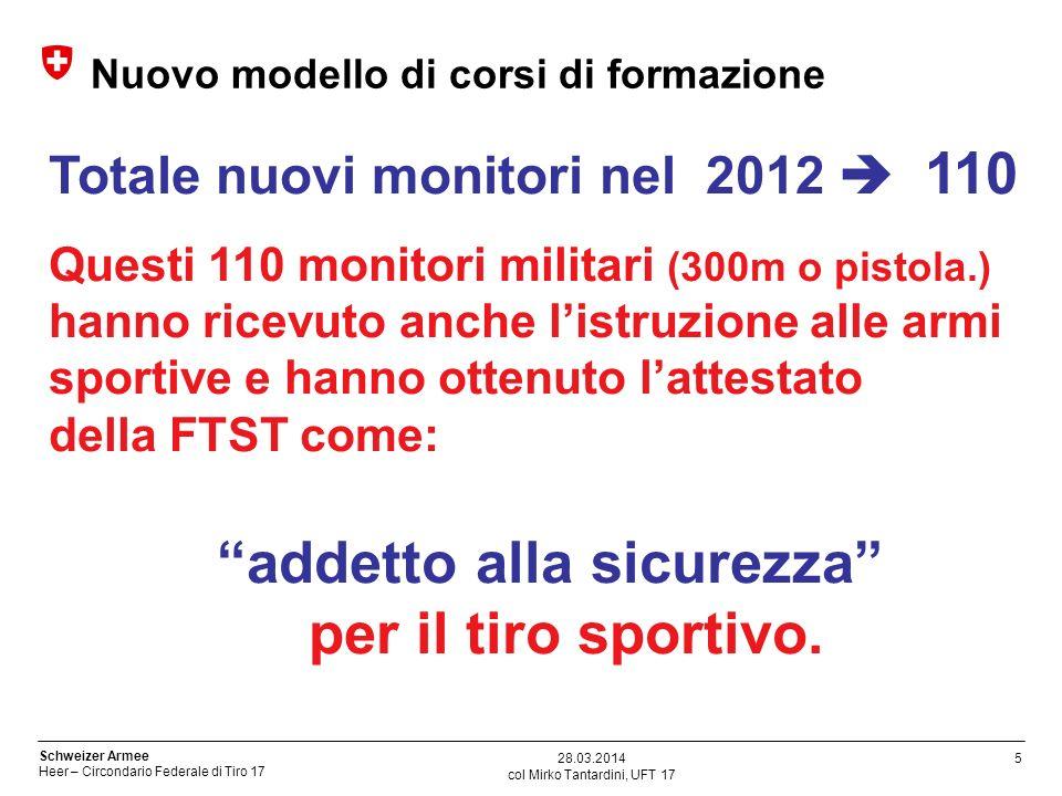 5 Schweizer Armee Heer – Circondario Federale di Tiro 17 col Mirko Tantardini, UFT 17 28.03.2014 Nuovo modello di corsi di formazione Totale nuovi mon