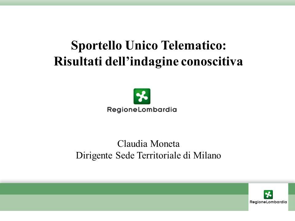 Sportello Unico Telematico: Risultati dellindagine conoscitiva Claudia Moneta Dirigente Sede Territoriale di Milano