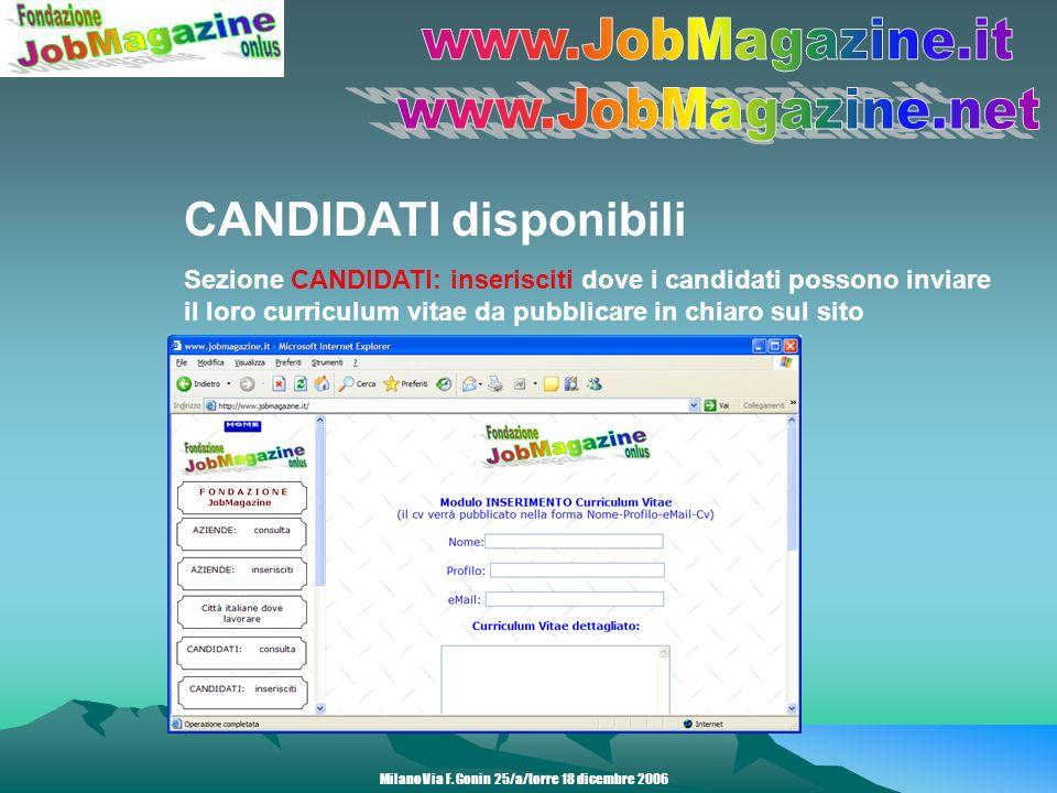 CANDIDATI disponibili Sezione CANDIDATI: inserisciti dove i candidati possono inviare il loro curriculum vitae da pubblicare in chiaro sul sito Milano Via F.