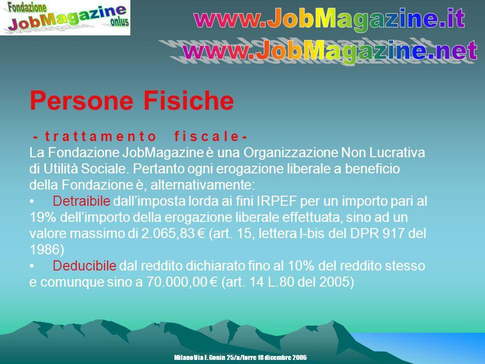 Persone Fisiche - t r a t t a m e n t o f i s c a l e - La Fondazione JobMagazine è una Organizzazione Non Lucrativa di Utilità Sociale.