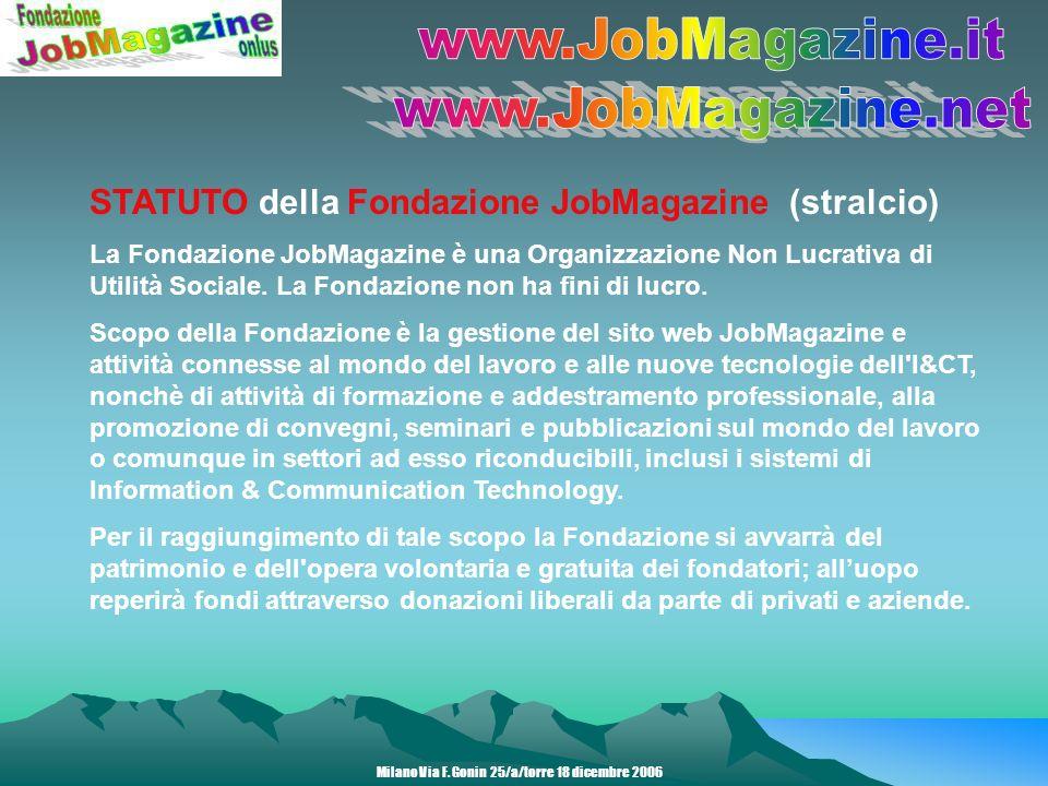 STATUTO della Fondazione JobMagazine (stralcio) La Fondazione JobMagazine è una Organizzazione Non Lucrativa di Utilità Sociale.