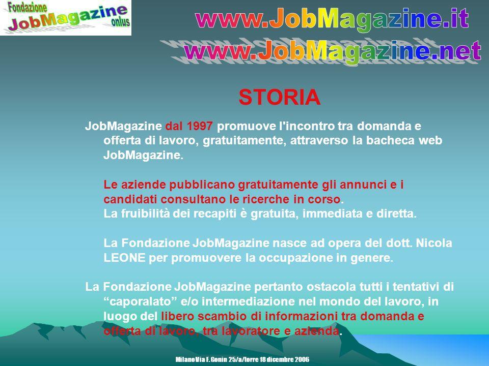 STORIA JobMagazine dal 1997 promuove l incontro tra domanda e offerta di lavoro, gratuitamente, attraverso la bacheca web JobMagazine.