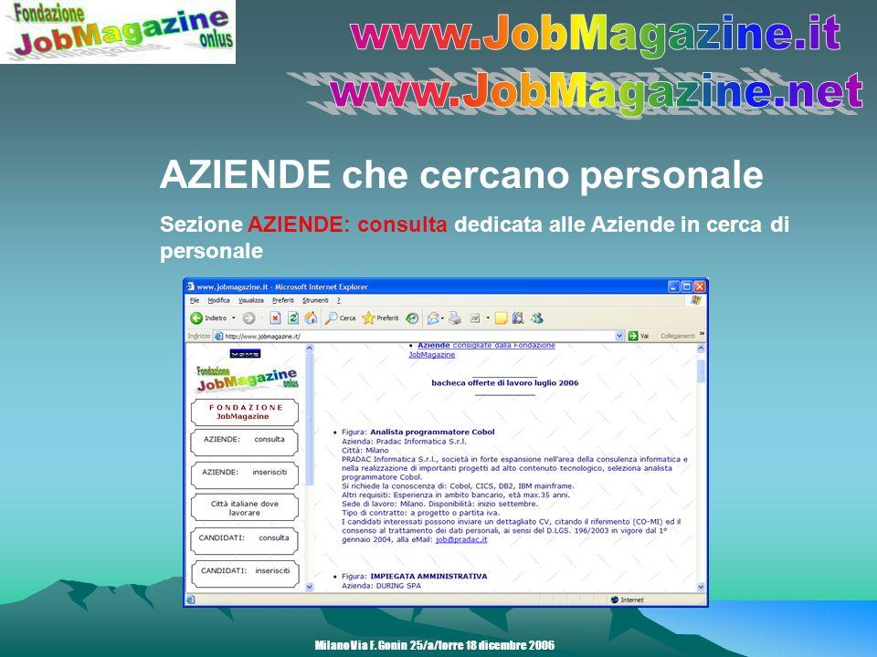 AZIENDE che cercano personale Sezione AZIENDE: inserisciti da dove le Aziende in cerca di personale possono compilare lannuncio da pubblicare Milano Via F.
