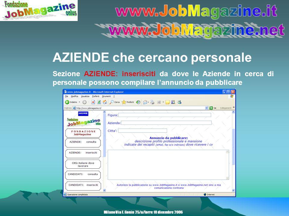 AZIENDE che cercano personale Sezione AZIENDE: candidature spontanee Milano Via F.