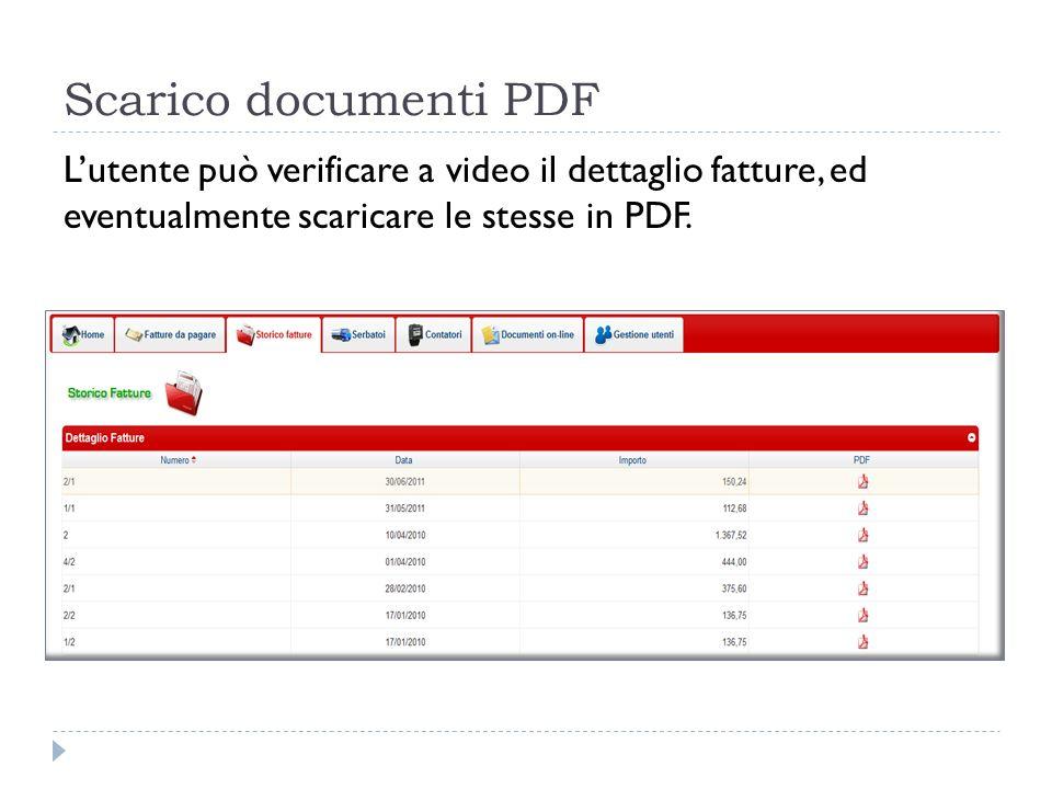 Scarico documenti PDF Lutente può verificare a video il dettaglio fatture, ed eventualmente scaricare le stesse in PDF.