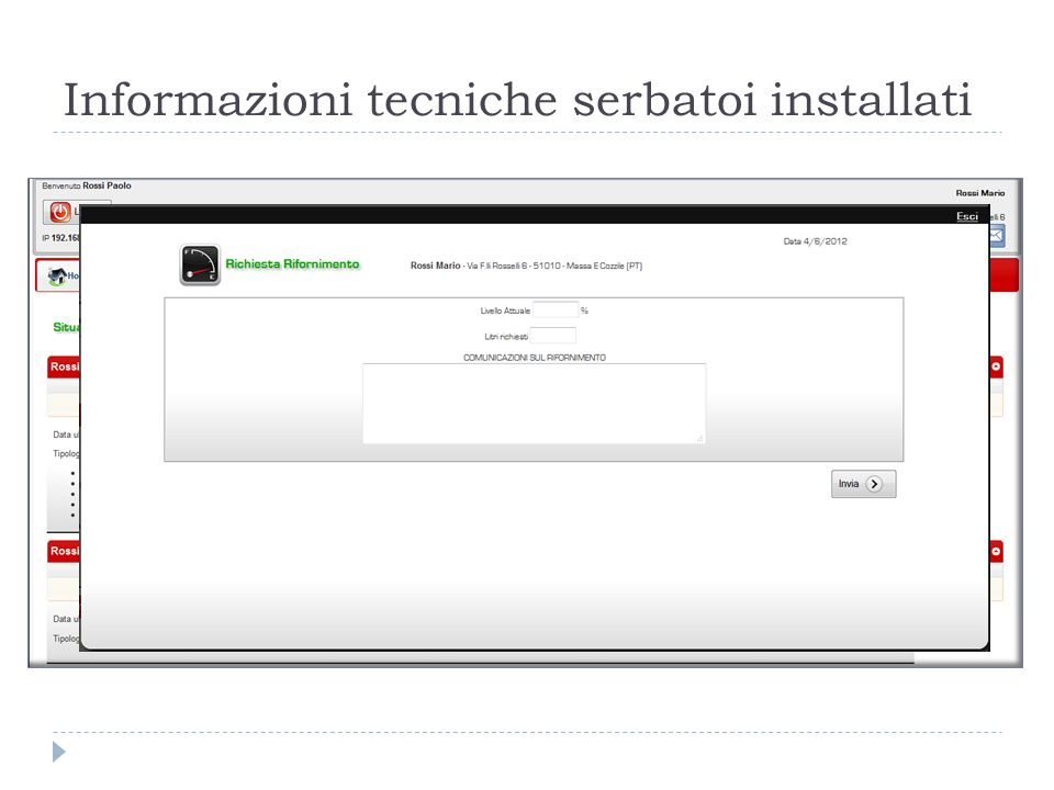 Informazioni tecniche serbatoi installati