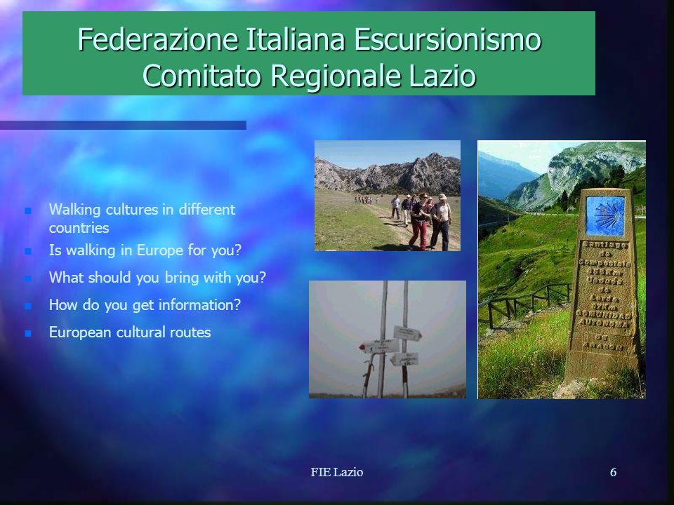 FIE Lazio5 Federazione Italiana Escursionismo Comitato Regionale Lazio