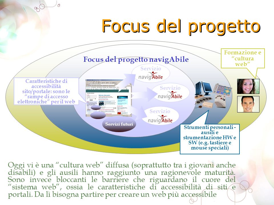 Focus del progetto Oggi vi è una cultura web diffusa (soprattutto tra i giovani anche disabili) e gli ausili hanno raggiunto una ragionevole maturità.