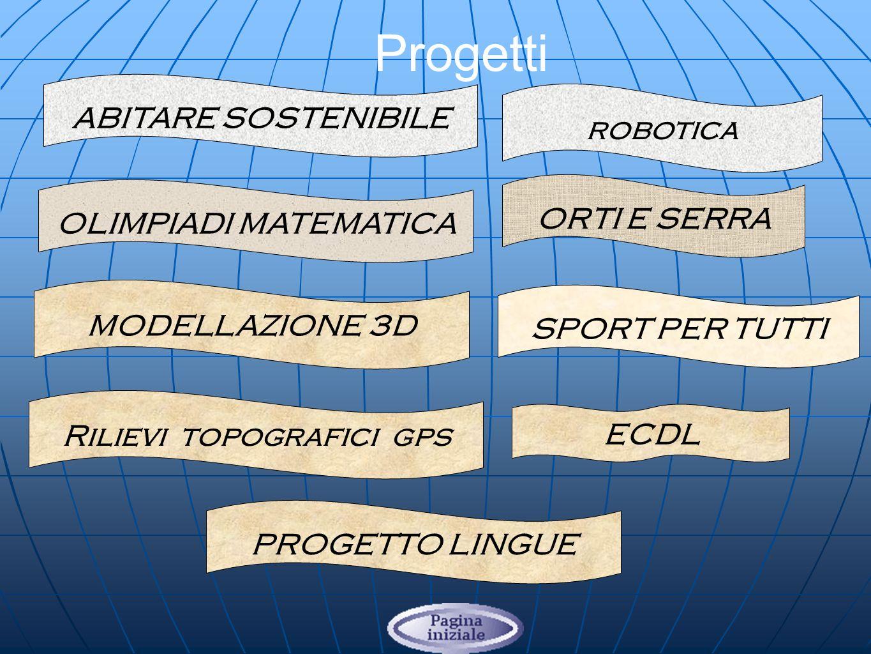 Progetti ECDL PROGETTO LINGUE OLIMPIADI MATEMATICA ABITARE SOSTENIBILE ORTI E SERRA SPORT PER TUTTI MODELLAZIONE 3D Rilievi topografici gps robotica