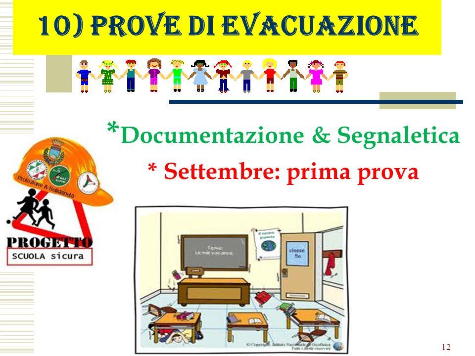 10) Prove di evacuazione * Documentazione & Segnaletica * Settembre: prima prova 12