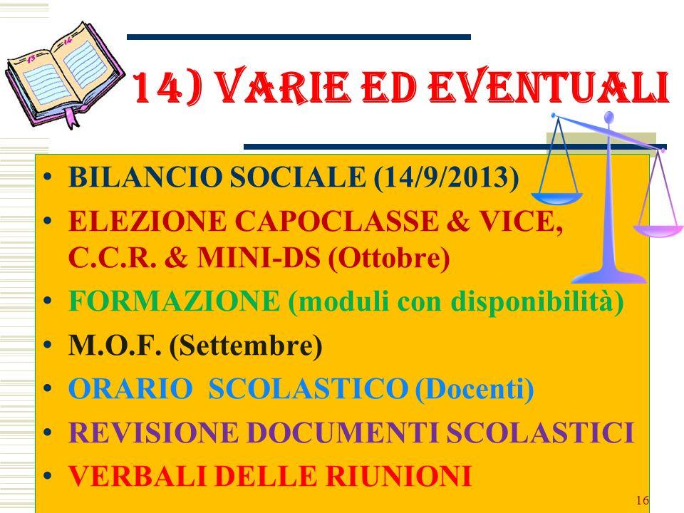 14) VARIE ED EVENTUALI BILANCIO SOCIALE (14/9/2013) ELEZIONE CAPOCLASSE & VICE, C.C.R. & MINI-DS (Ottobre) FORMAZIONE (moduli con disponibilità) M.O.F