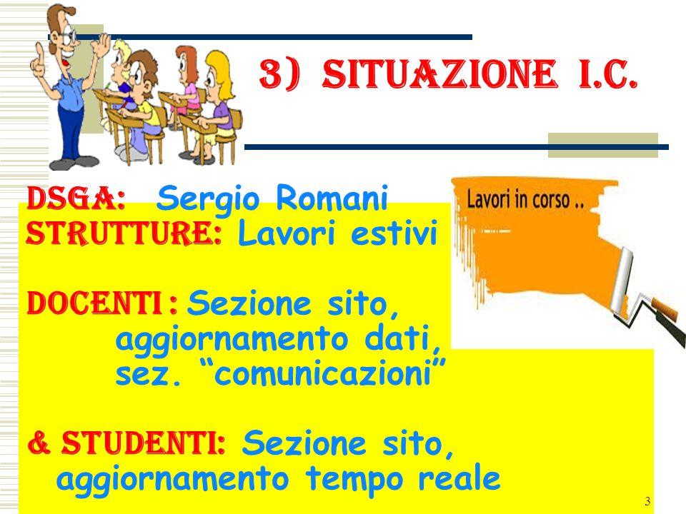 3) situazione i.c. DSGA: Sergio Romani strutture: Lavori estivi docenti : Sezione sito, aggiornamento dati, sez. comunicazioni & studenti: Sezione sit