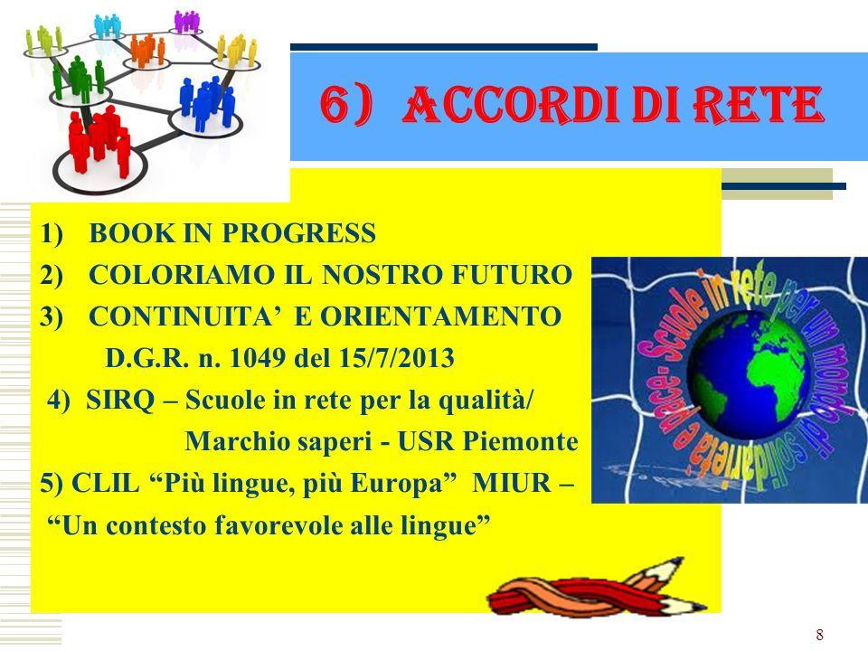 6) ACCORDI DI RETE 1)BOOK IN PROGRESS 2)COLORIAMO IL NOSTRO FUTURO 3)CONTINUITA E ORIENTAMENTO D.G.R. n. 1049 del 15/7/2013 4) SIRQ – Scuole in rete p