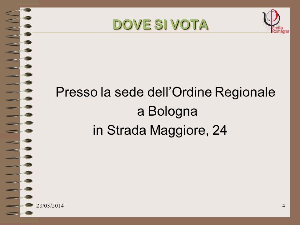 28/03/20144 Presso la sede dellOrdine Regionale a Bologna in Strada Maggiore, 24 DOVE SI VOTA