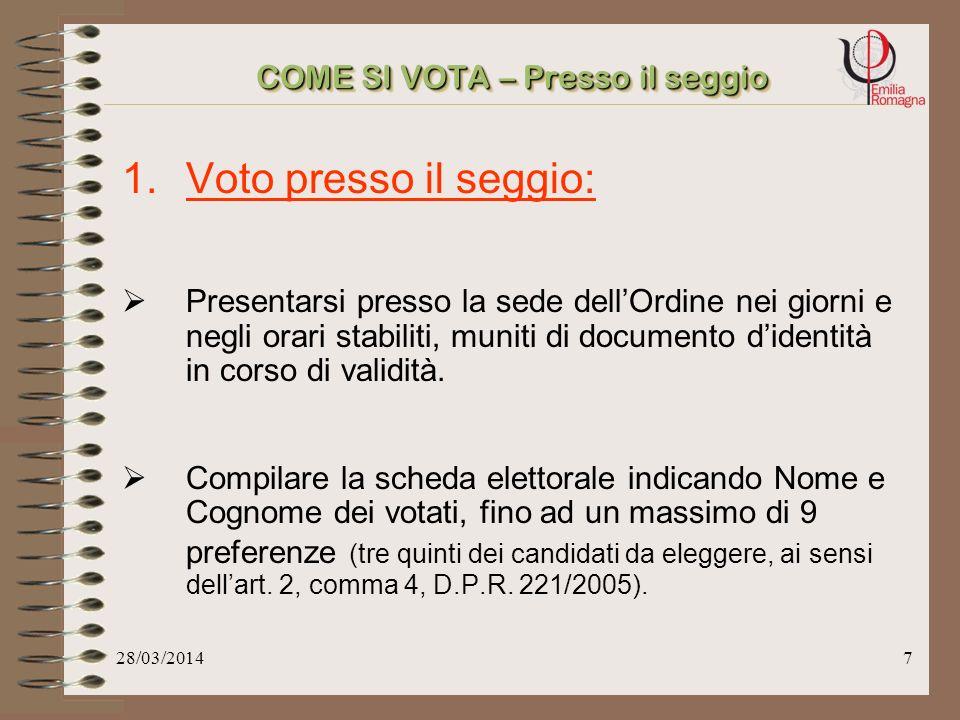 28/03/20146 COME SI VOTA Le modalità di voto sono tre: 1.