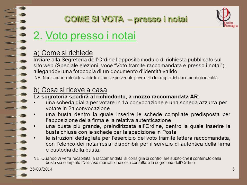 28/03/20147 1.Voto presso il seggio: Presentarsi presso la sede dellOrdine nei giorni e negli orari stabiliti, muniti di documento didentità in corso di validità.