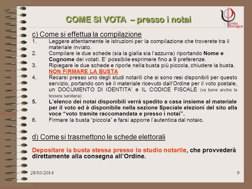 28/03/20149 c) Come si effettua la compilazione 1.Leggere attentamente le istruzioni per la compilazione che troverete tra il materiale inviato.