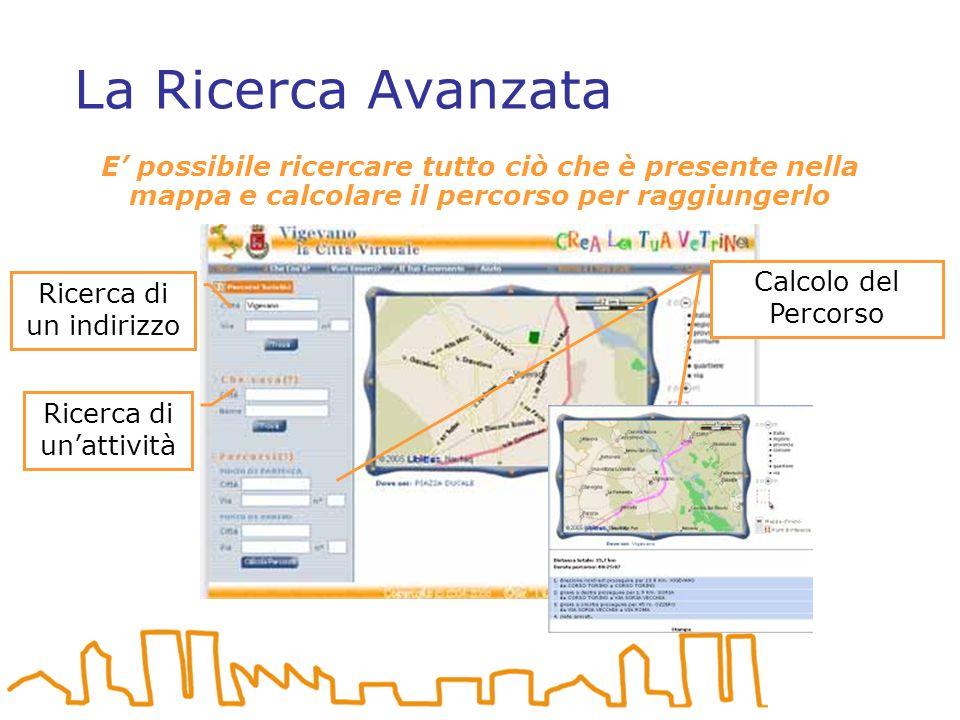 La Ricerca Avanzata E possibile ricercare tutto ciò che è presente nella mappa e calcolare il percorso per raggiungerlo Ricerca di unattività Ricerca di un indirizzo Calcolo del Percorso