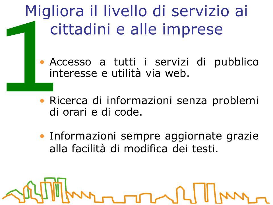 Migliora il livello di servizio ai cittadini e alle imprese Informazioni sempre aggiornate grazie alla facilità di modifica dei testi.