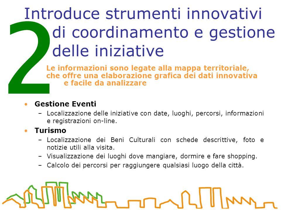 Introduce strumenti innovativi di coordinamento e gestione delle iniziative Gestione Eventi –Localizzazione delle iniziative con date, luoghi, percorsi, informazioni e registrazioni on-line.