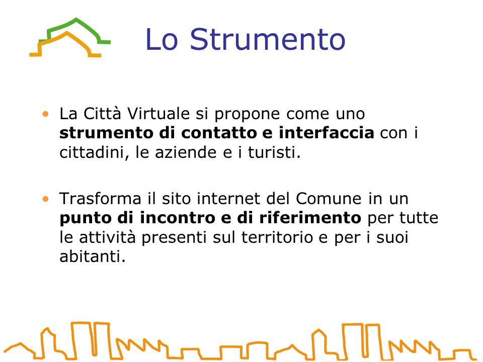 Lo Strumento La Città Virtuale si propone come uno strumento di contatto e interfaccia con i cittadini, le aziende e i turisti.