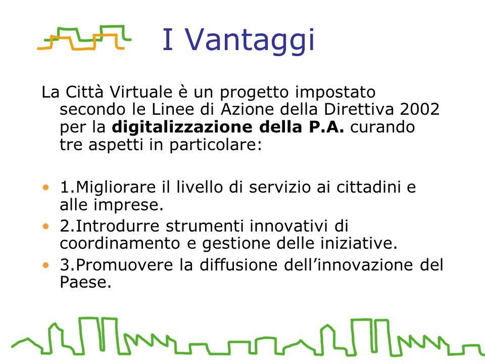 I Vantaggi La Città Virtuale è un progetto impostato secondo le Linee di Azione della Direttiva 2002 per la digitalizzazione della P.A.