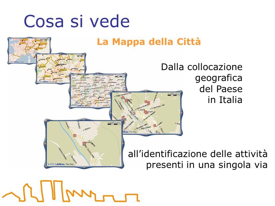 Cosa si vede La Mappa della Città Dalla collocazione geografica del Paese in Italia allidentificazione delle attività presenti in una singola via