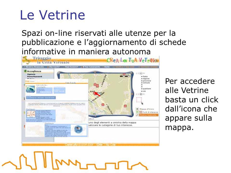 Le Vetrine Per accedere alle Vetrine basta un click dallicona che appare sulla mappa.