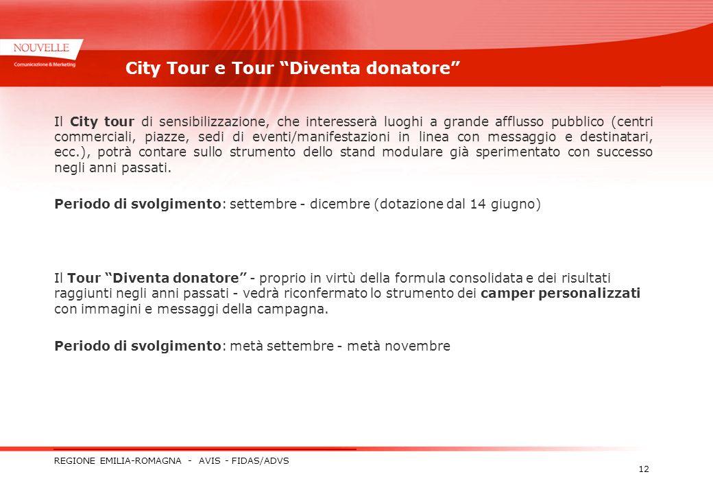 REGIONE EMILIA-ROMAGNA - AVIS - FIDAS/ADVS 12 City Tour e Tour Diventa donatore Il City tour di sensibilizzazione, che interesserà luoghi a grande aff
