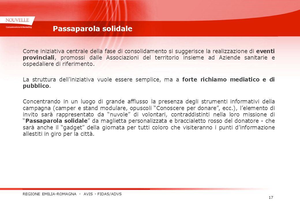 REGIONE EMILIA-ROMAGNA - AVIS - FIDAS/ADVS 17 Passaparola solidale Come iniziativa centrale della fase di consolidamento si suggerisce la realizzazion