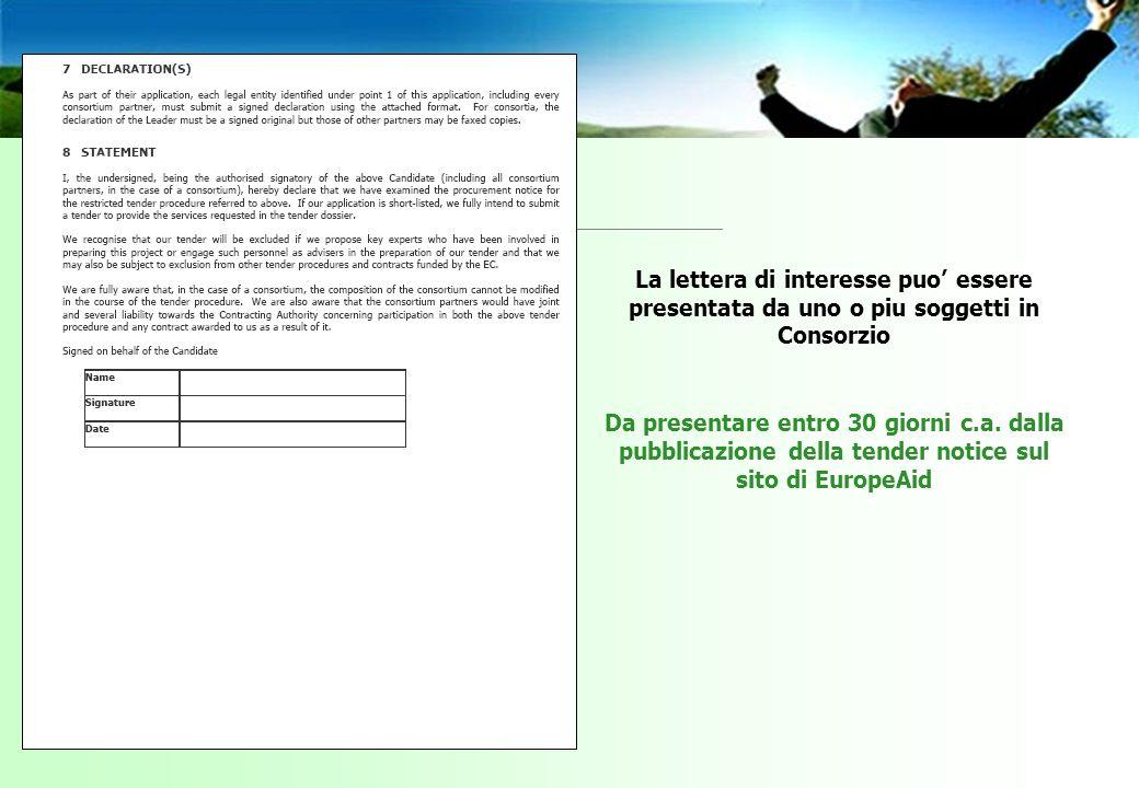 La lettera di interesse puo essere presentata da uno o piu soggetti in Consorzio Da presentare entro 30 giorni c.a.